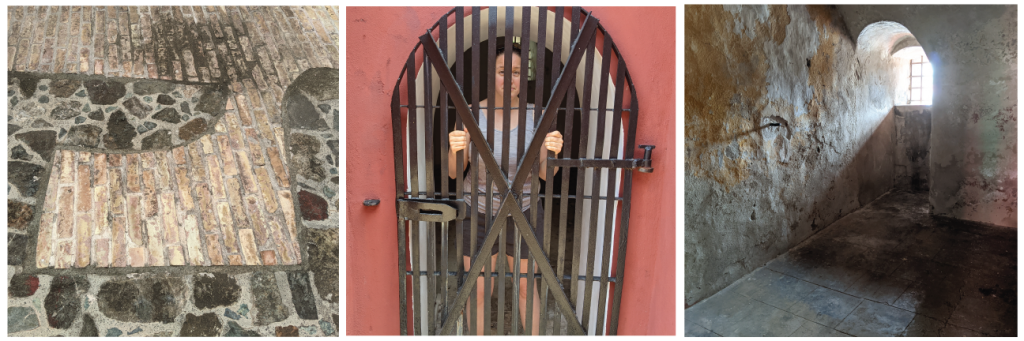 1 - floor showing a tiny opening to a bathroom, 2 - me looking sad and holding onto a gated door, 3 - a cavernous room with only one small window shining light